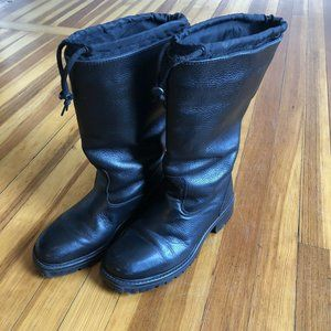 LL Bean Tall Winter Boot W 9M Black Leather Cinch